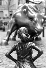 Wood print  Fearless Girl and Wall Street Bull - Art Couture