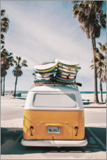 Wood print  Surfer Van - Florida feeling - Art Couture