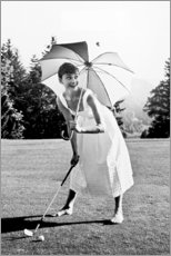 Acrylic print  Audrey Hepburn playing Golf - Celebrity Collection