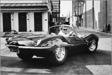 Wood print  Steve McQueen in Jaguar - Celebrity Collection