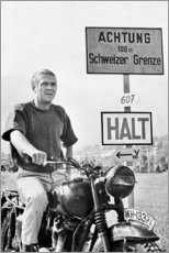 Wood print  Steve McQueen in The Great Escape - Celebrity Collection