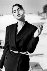 Wood print  Monica Bellucci smoking - Celebrity Collection