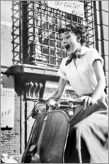 Wood print  Audrey Hepburn on a Vespa - Celebrity Collection