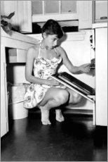 Wood print  Audrey Hepburn at the stove - Celebrity Collection