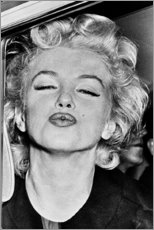 Wood print  Marilyn Monroe's kiss - Celebrity Collection