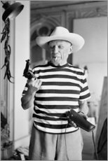 Wood print  Picasso with a revolver - Celebrity Collection