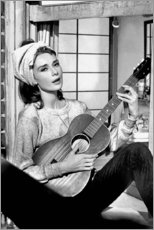 Acrylic print  Audrey Hepburn with guitar - Celebrity Collection