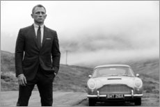 Wood print  Daniel Craig as James Bond (black and white) - Celebrity Collection