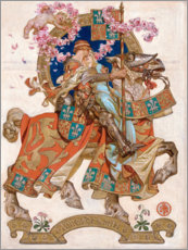 Wood print  Honeymoon - Joseph Christian Leyendecker