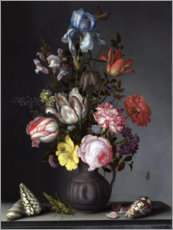 Canvas print  Flowers in a Vase with Shells and Insects - Balthasar van der Ast