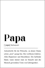 Wood print  Papa Definition (German) - Pulse of Art