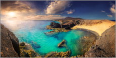 Canvas print  Lanzarote Playa del Papagayo at sunset - Michael Rucker