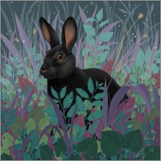 Canvas  Black rabbit in the grass - Vasilisa Romanenko