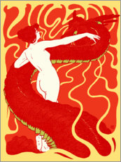 Premium poster  Woman and snake - Hans Christiansen