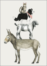 Premium poster  Crazy farm animal pyramid - Grace Popp