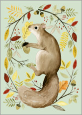 Alu-Dibond  Squirrel in the autumn - Grace Popp