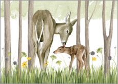 Premium poster Children of the forest - Deer and her foal