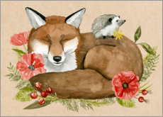 Gallery print  Fox and hedgehog rest - Grace Popp