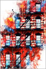 Wall sticker  NYC house facade - Philippe HUGONNARD