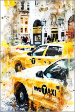 Wood print  New York Taxis - Philippe HUGONNARD