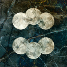 Wood print  Moon phase 6 - Linnea Frank