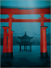 Acrylic print  Asian gate and temple - Sybille Sterk