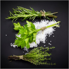 Foam board print  Mediterranean herbs on salt bed - Uwe Merkel