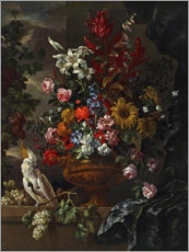Canvas print  various flowers in a sculpted bronze vas - Pieter Casteels III