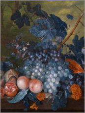 Canvas  Still life with grapes, pomegranates and other fruits - Jan van Huysum