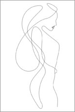 Premium poster  Lady with long hair - lineart - Sasha Lend
