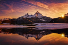 Wall sticker  Watzmann reflection at sunset - Dieter Meyrl