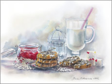 Gallery print  Still life with milk and jam - Maria Mishkareva