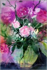 Premium poster Roses in a glass vase