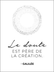 Wood print  Doubt is the father of invention (French)