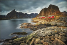Premium poster Red huts in Lofoten, Norway