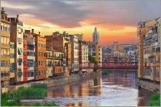 Premium poster  Colorful Girona Skyline - Jörg Gamroth