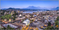 Premium poster Lucerne in the evening