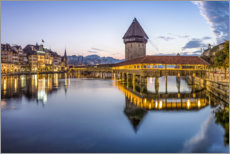 Premium poster Old town of Lucerne with Chapel Bridge
