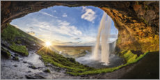 Foam board print  Seljalandfoss at sunset, Iceland - Dieter Meyrl