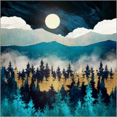 Wood print  Evening mist landscape - SpaceFrog Designs