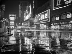 Wood print  Rain in Times Square in New York