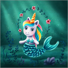 Premium poster Little mermaid unicorn