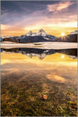 Premium poster Watzmann reflection in the sunset