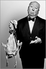 Aluminium print  Alfred Hitchcock with duck - Celebrity Collection
