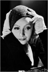 Aluminium print  Greta Garbo with cap - Celebrity Collection