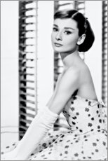 Canvas print  Audrey Hepburn in flower dress - Celebrity Collection