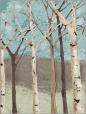 Wood print  Blue Birches I - Jade Reynolds