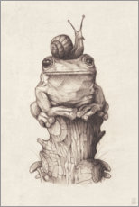 Acrylic print  The frog and the snail, vintage - Mike Koubou
