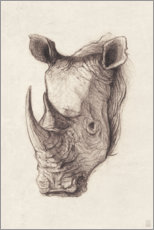 Wall sticker  Rhino portrait, vintage - Mike Koubou