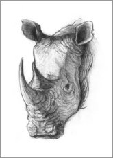 Foam board print  Rhino portrait, black and white - Mike Koubou